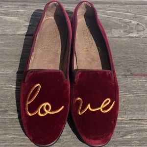 Aerosoles Dark Red Velvet Love Loafers Flats Shoes